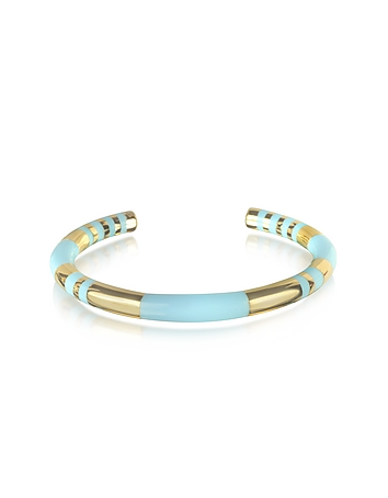 Aurelie Bidermann - 18K gold-plated & Sky Blue Enamel Resin Positano Striped Bangle