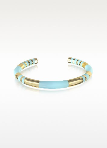 18K gold-plated & Sky Blue Enamel Resin Positano Striped Bangle - Aurelie Bidermann