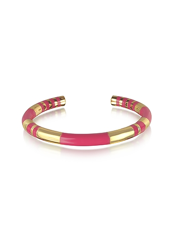 Aurelie Bidermann - 18K gold-plated & Fuchsia Enamel Resin Positano Striped Bangle