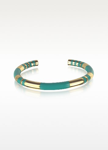 18K gold-plated & Emerald Green Enamel Resin Positano Striped Bangle - Aurelie Bidermann
