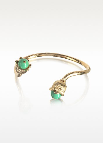 18K gold-plated Lily of the Valley Bracelet w/Turquoise - Aurelie Bidermann