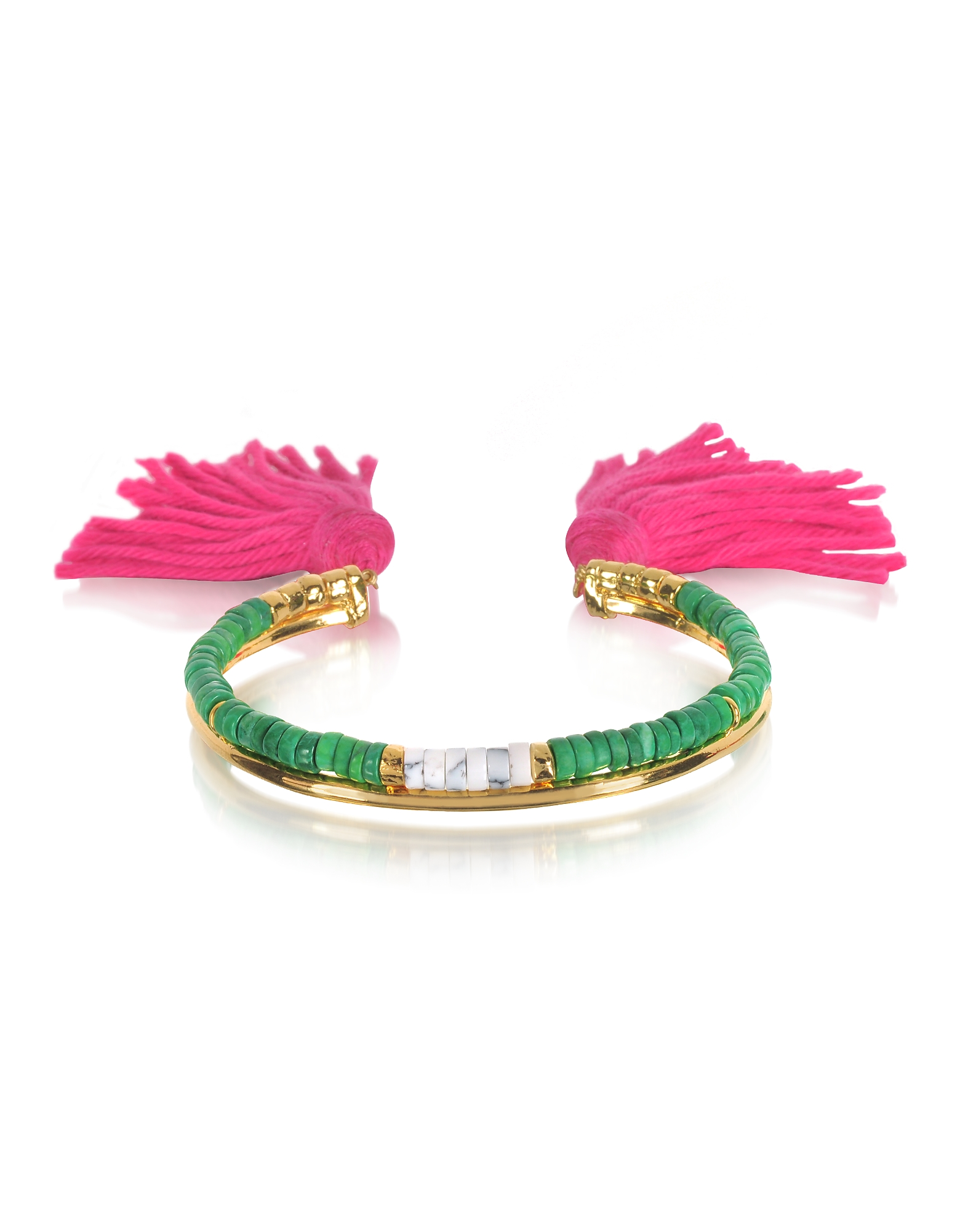 Image of Aurelie Bidermann Designer Bracelets, 18K Gold-plated & Green Jaspe and White Bamboo Beads Sioux Bracelet w/Pink Cotton Tassels