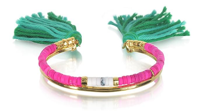 18K Gold-plated & Pink Tinted Howlite and White Bamboo Beads Sioux Bracelet w/Emerald Cotton Tassels - Aurelie Bidermann