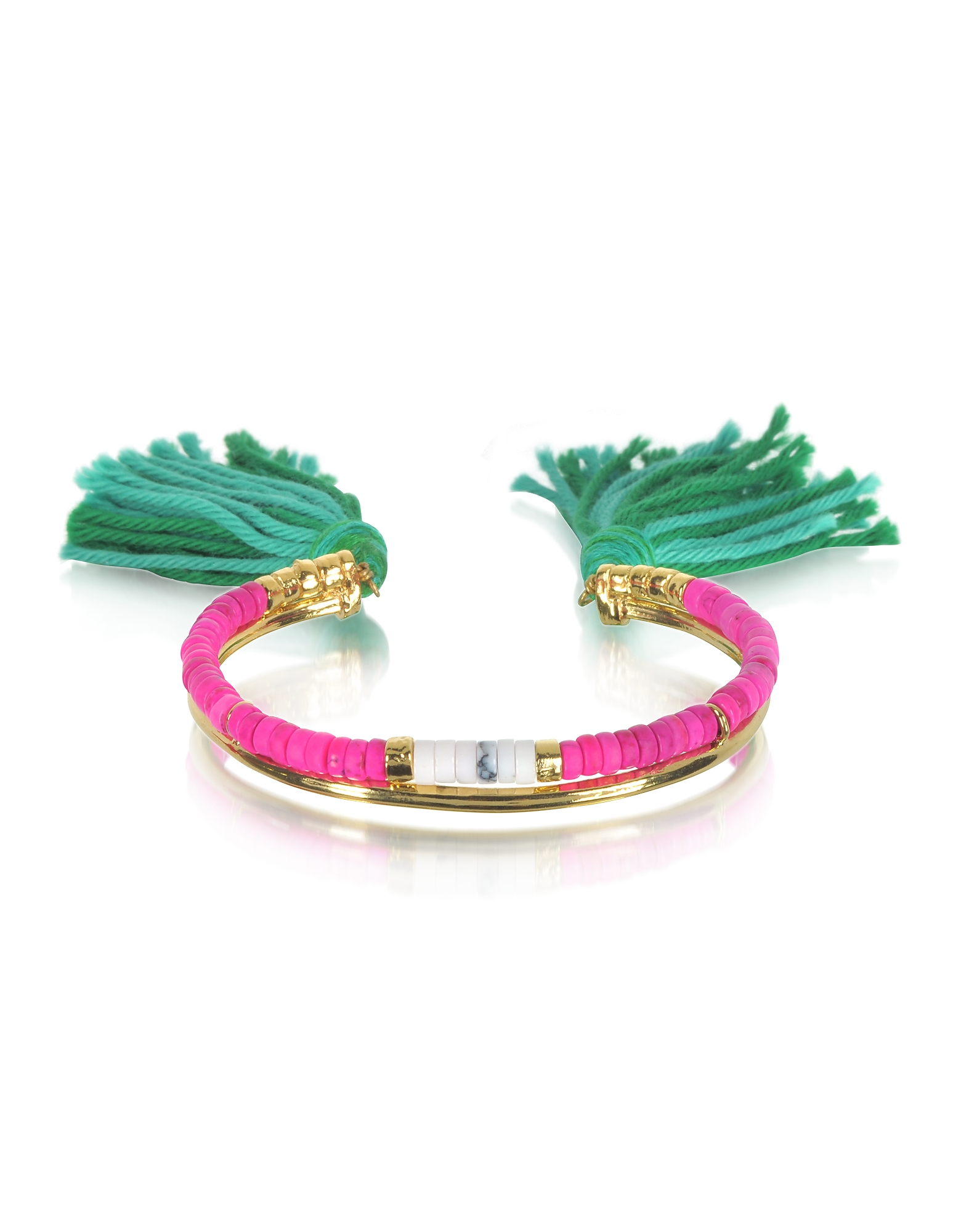 Image of Aurelie Bidermann Designer Bracelets, 18K Gold-plated & Pink Tinted Howlite and White Bamboo Beads Sioux Bracelet w/Emerald Cotton Tassels