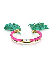 18K Gold-plated & Pink Tinted Howlite and White Bamboo Beads Sioux Bracelet w/Emerald Cotton Tassels - Aurelie Bidermann