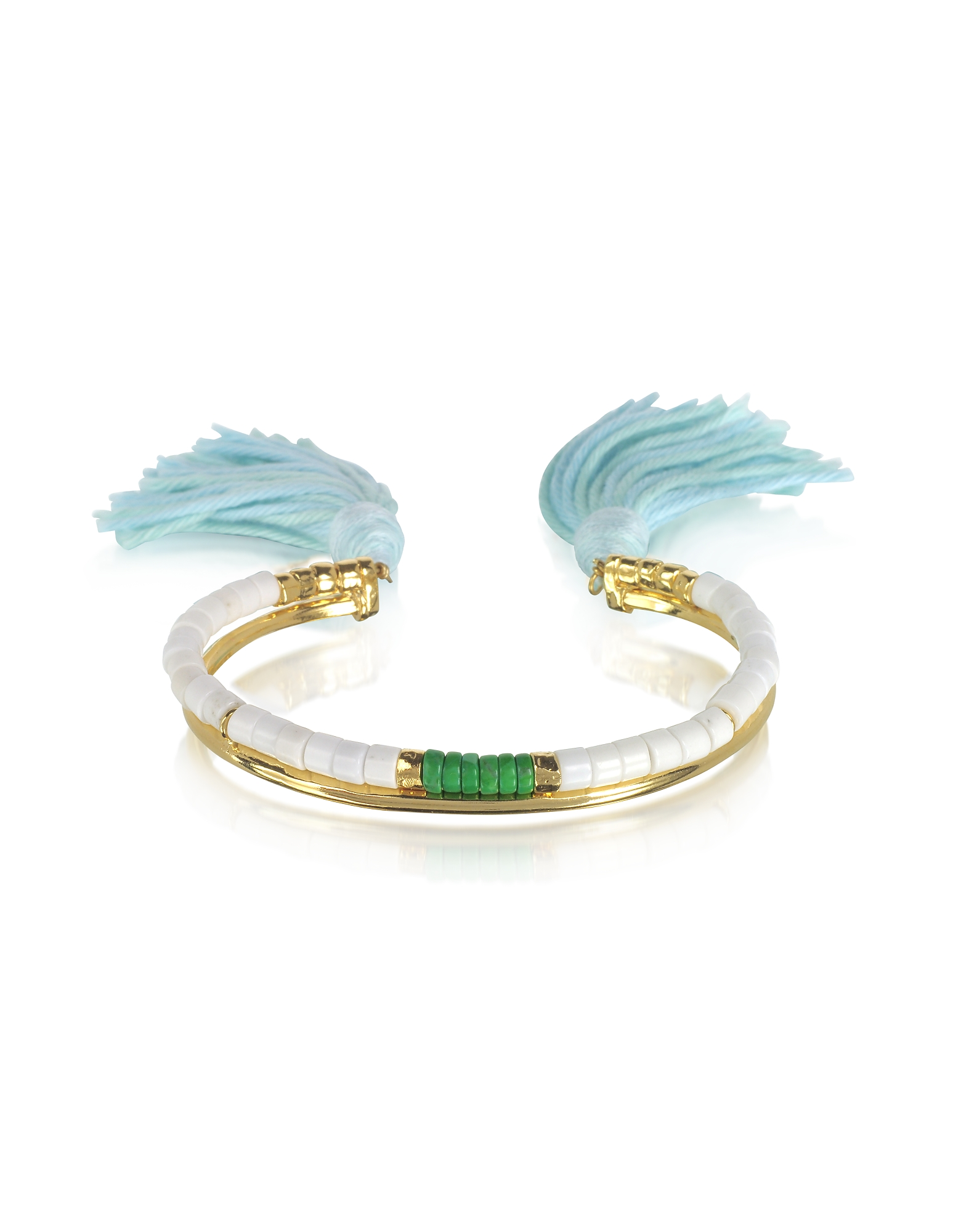 Image of Aurelie Bidermann Designer Bracelets, 18K Gold-Plated & White Bamboo and Green Jaspe Beads Sioux Bracelet w/Light Blue Cotton Tassels