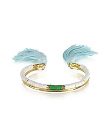 18K Gold-Plated & White Bamboo and Green Jaspe Beads Sioux Bracelet w/Light Blue Cotton Tassels - Aurelie Bidermann