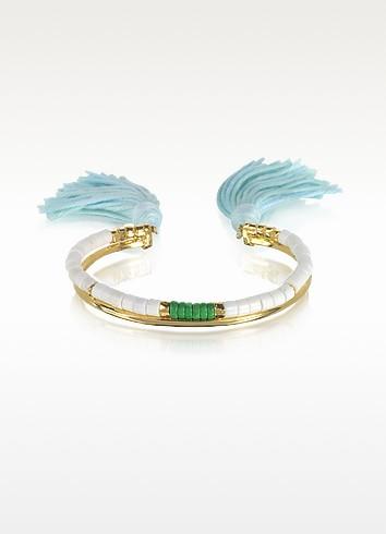 18K Gold-Plated & White Bamboo and Green Jaspe Beads Sioux Bracelet w/Light Blue Cotton Tassels - Aurelie Bidermann