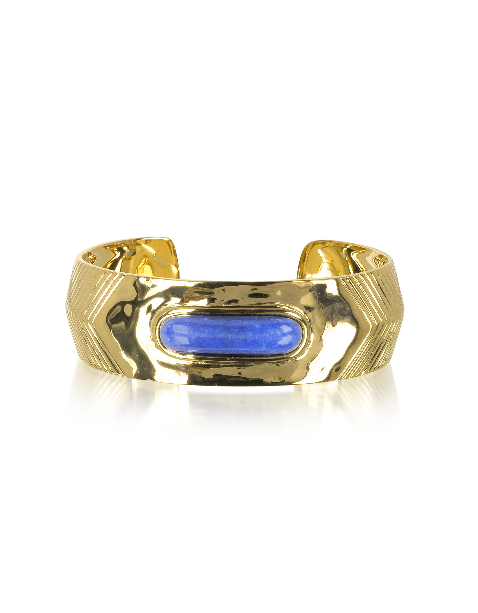 Aurelie Bidermann Bracelets, Peggy 18K Gold-Plated Bangle w/Lapis Lazuli Stone