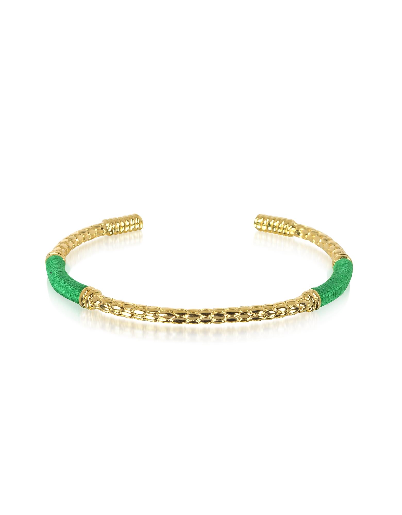 Aurelie Bidermann Bracelets, Soho Serpent 18K Gold-Plated Bangle w/Emerald Thread