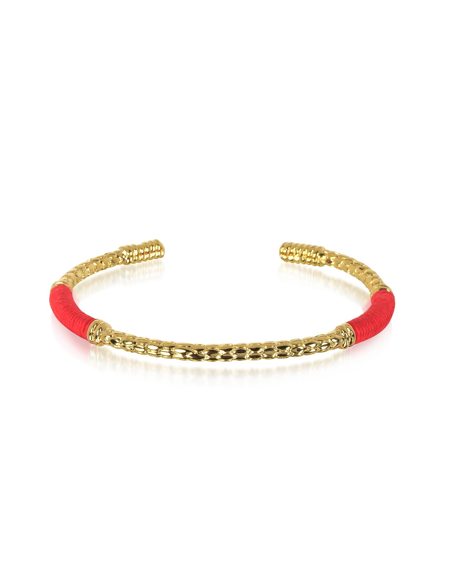 Soho Serpent - Браслет с Напылением Золота 18 карат и Красной Нитью