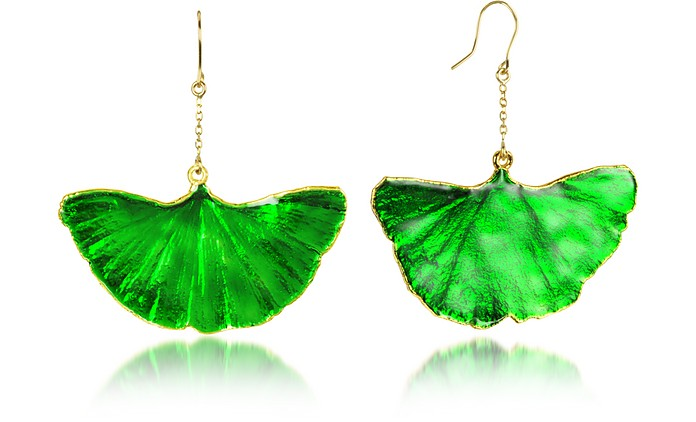 Gold and Emerald Green Ginkgo Earrings - Aurelie Bidermann