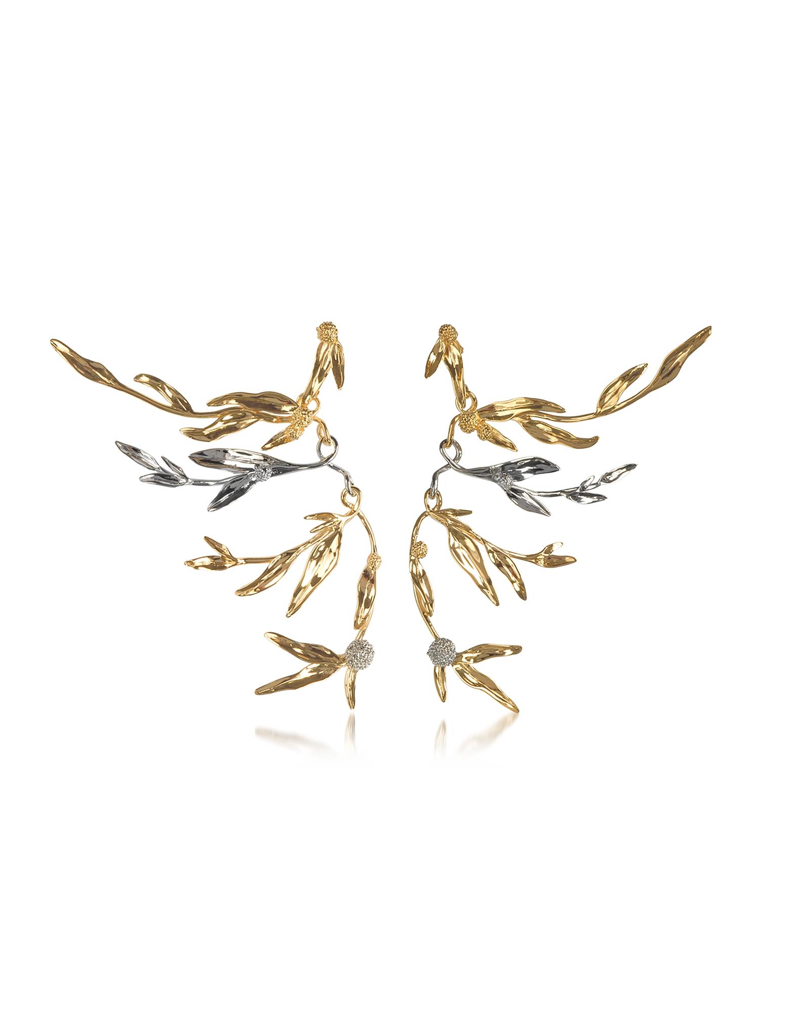 Image of Aurelie Bidermann Designer Earrings, 18K gold-plated Brass Mimosa Articulated Earrings