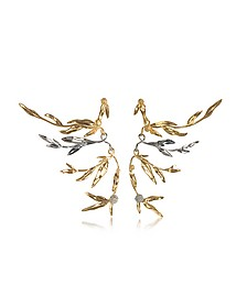 18K gold-plated Brass Mimosa Articulated Earrings - Aurelie Bidermann