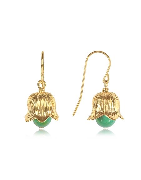 Aurelie Bidermann Lily of the Valley - Boucles d'Oreilles Clochette en Laiton Plaqué Or avec Perle en Bambou Turquoise