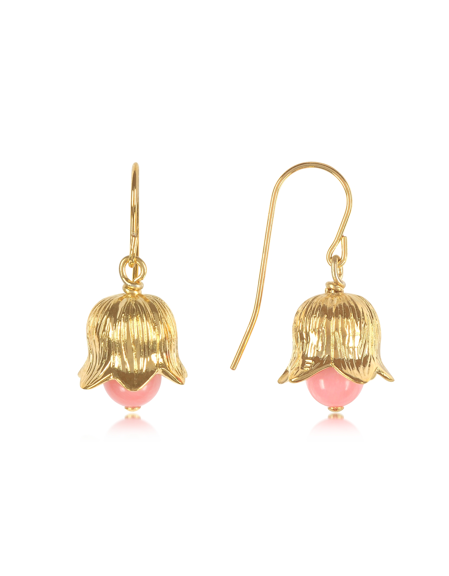 Aurelie Bidermann Earrings, 18K gold-plated Lily of the Valley Earrings w/Pink Bamboo Pearl