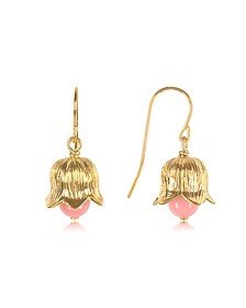 Pendientes Lily of the Valley en Metal Chapado Oro 18K y Perlas de Bambú - Aurelie Bidermann