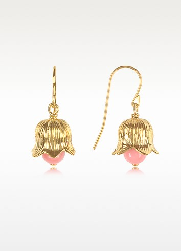 18K gold-plated Lily of the Valley Earrings w/Pink Bamboo Pearl - Aurelie Bidermann
