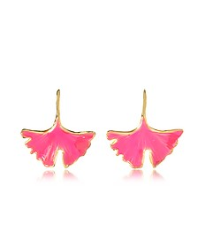 18K Gold-plated Enameled Tangerine Earrings - Aurelie Bidermann