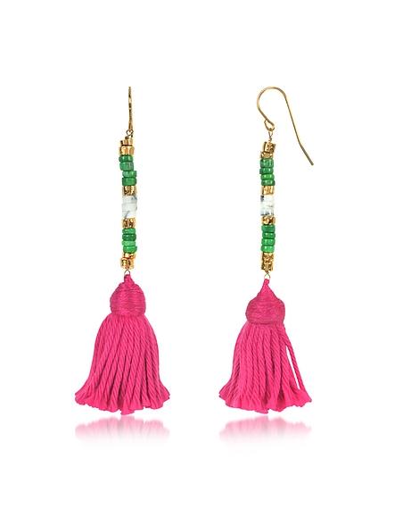 Aurelie Bidermann Sioux - Boucles d'Oreilles Pendantes en Métal Or avec Mini Perles et Pompon