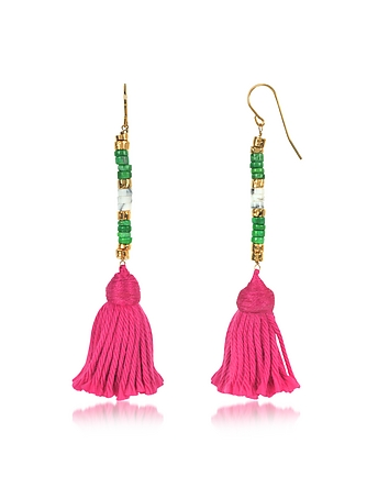 Aurelie Bidermann - 18K Gold-plated & Green Jaspe and White Bamboo Beads Sioux Earrings w/Pink Cotto