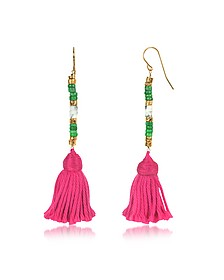 18K Gold-plated & Green Jaspe and White Bamboo Beads Sioux Earrings w/Pink Cotton Tassels - Aurelie Bidermann