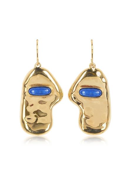 Aurelie Bidermann Peggy Dormeuses - Boucles d'Oreilles Pendantes en Métal Or avec Pierre Lapis Lazuli