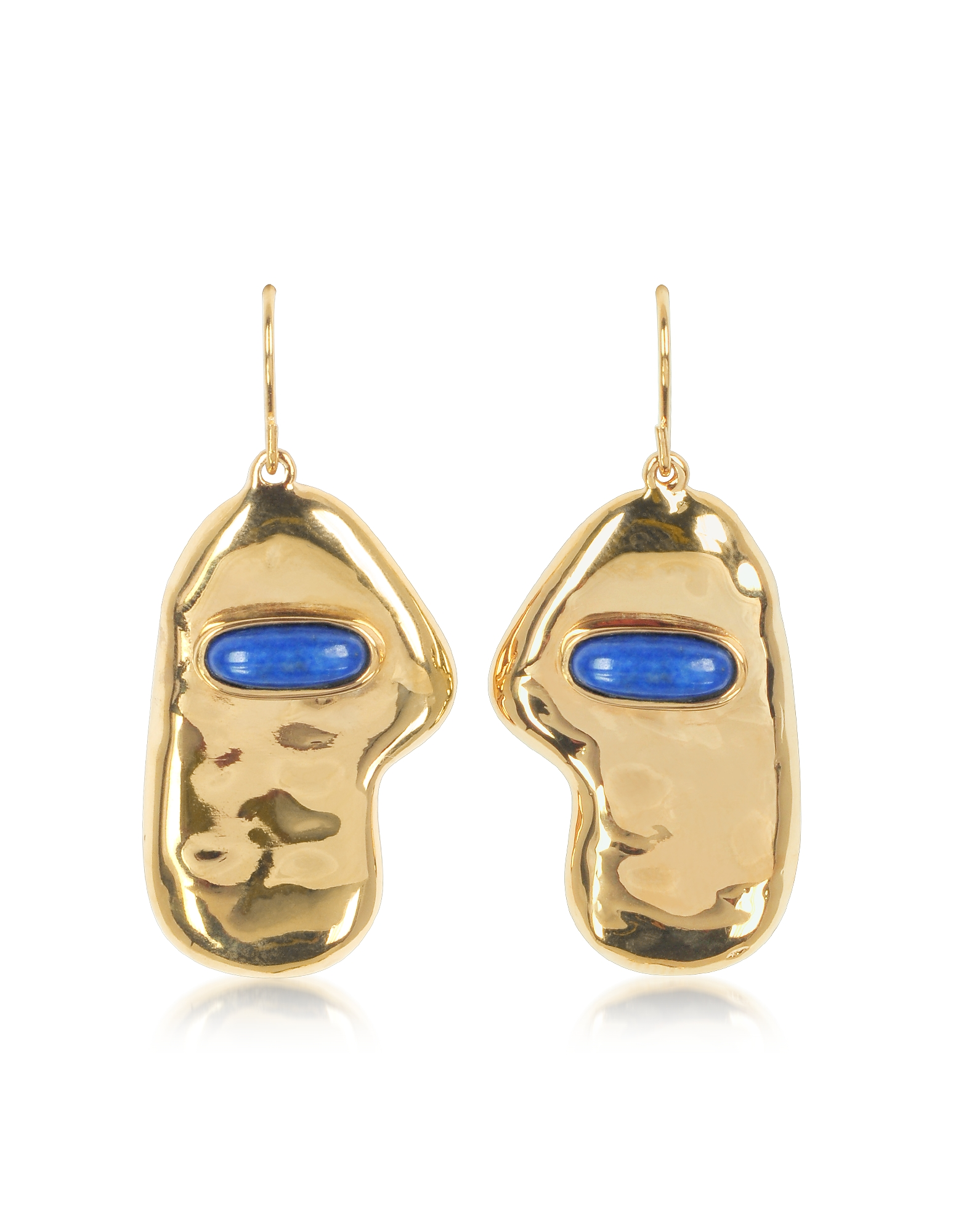 Aurelie Bidermann Earrings, Peggy 18K Gold-Plated Earrings w/Lapis Lazuli Stone