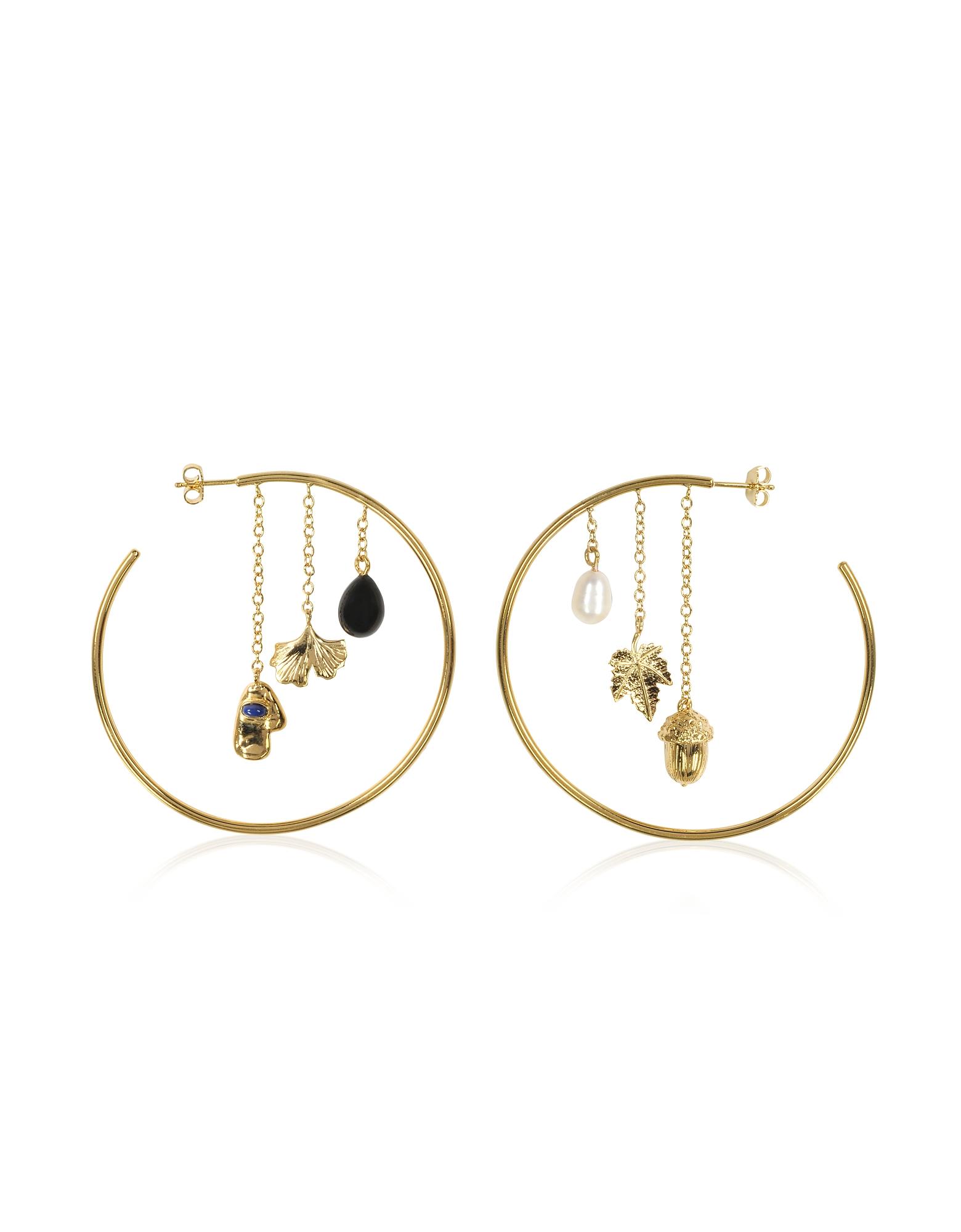 Image of Aurelie Bidermann Designer Earrings, Barbizon 18K Gold-Palted Hoop Earrings w/Pearls