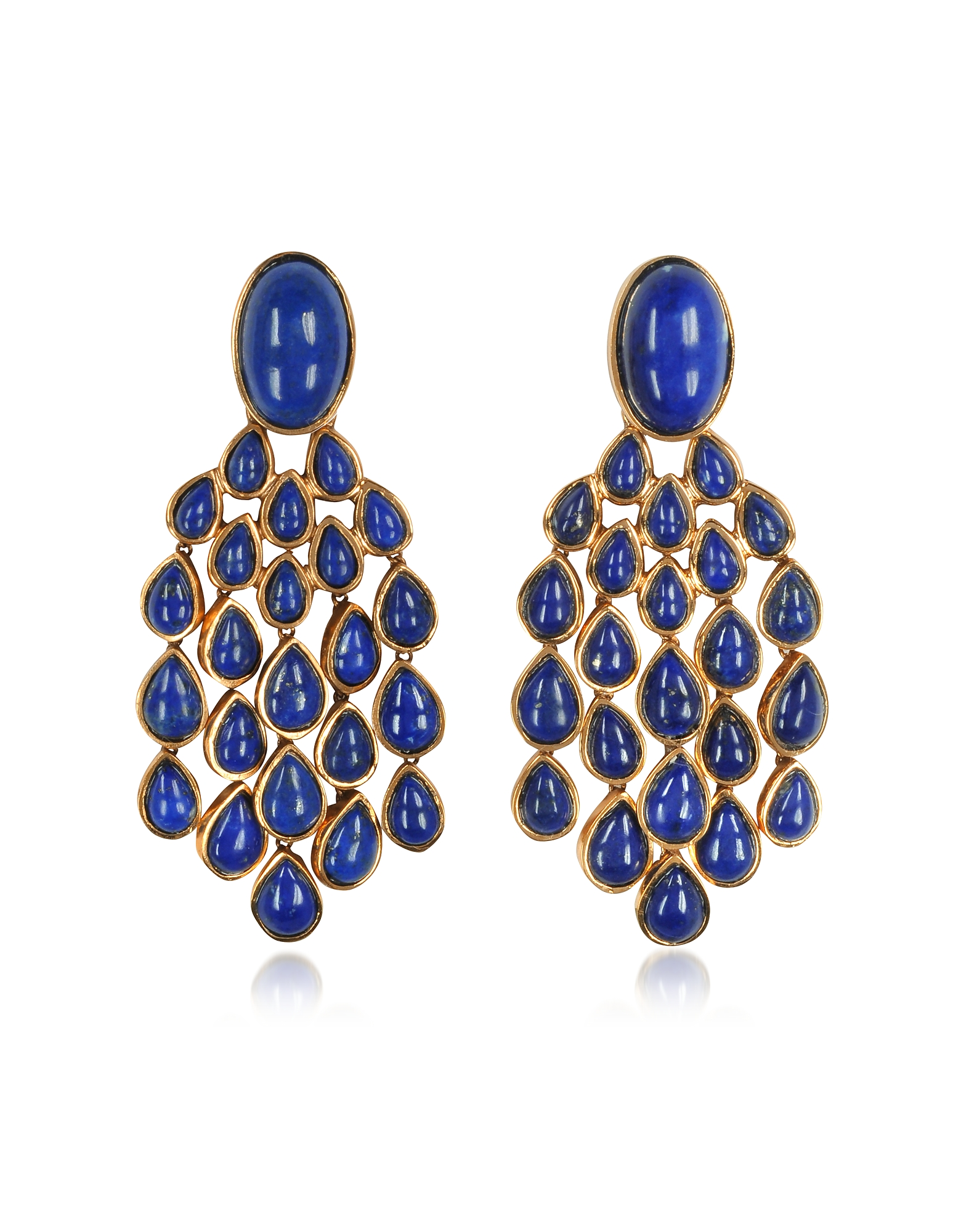 Aurelie Bidermann Earrings, Cherokee 18K Gold-Plated Drop Earrings w/Lapis Lazuli Stones