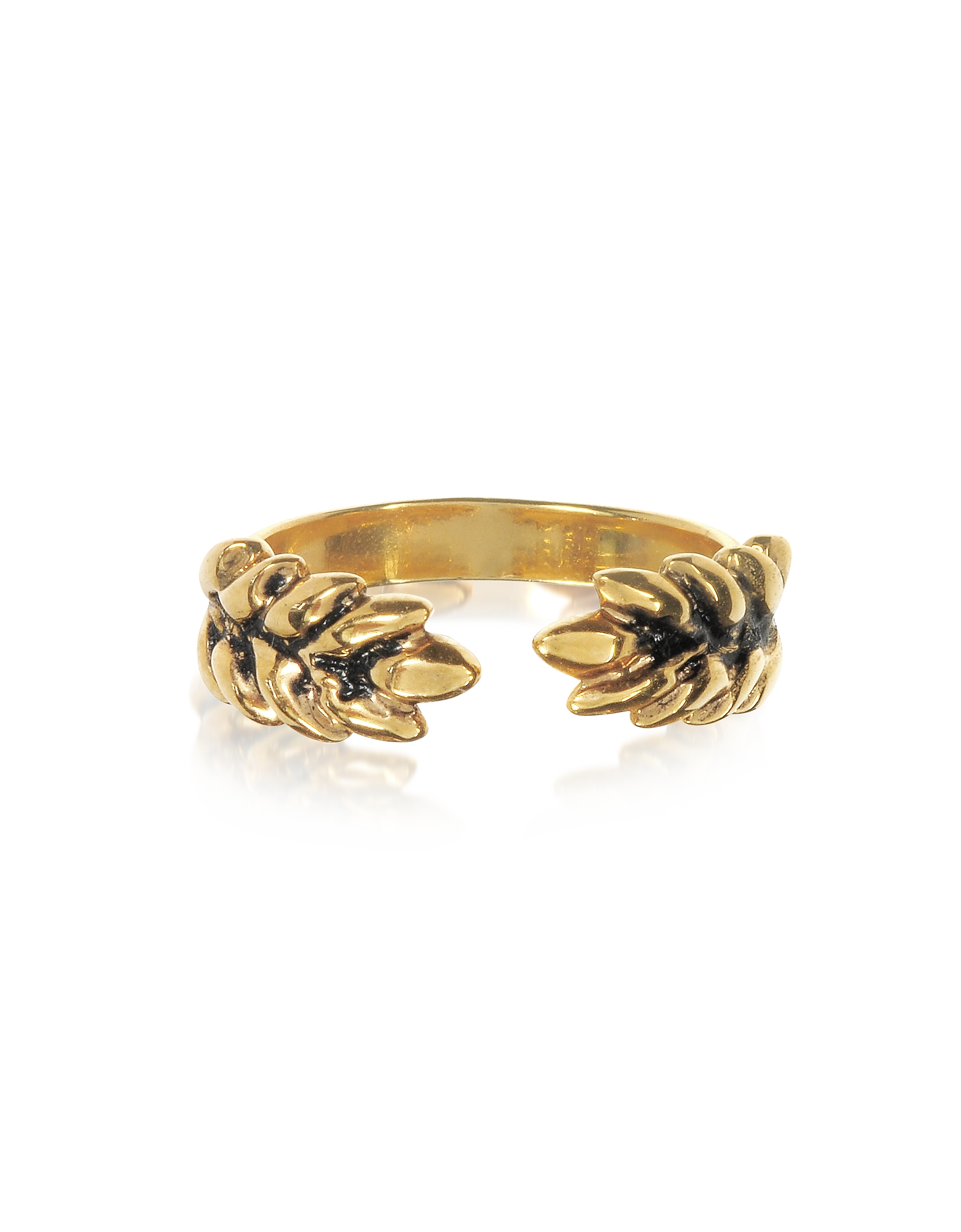 Aurelie Bidermann Rings, 18K Gold-Plated Two Cobs Wheat Ring