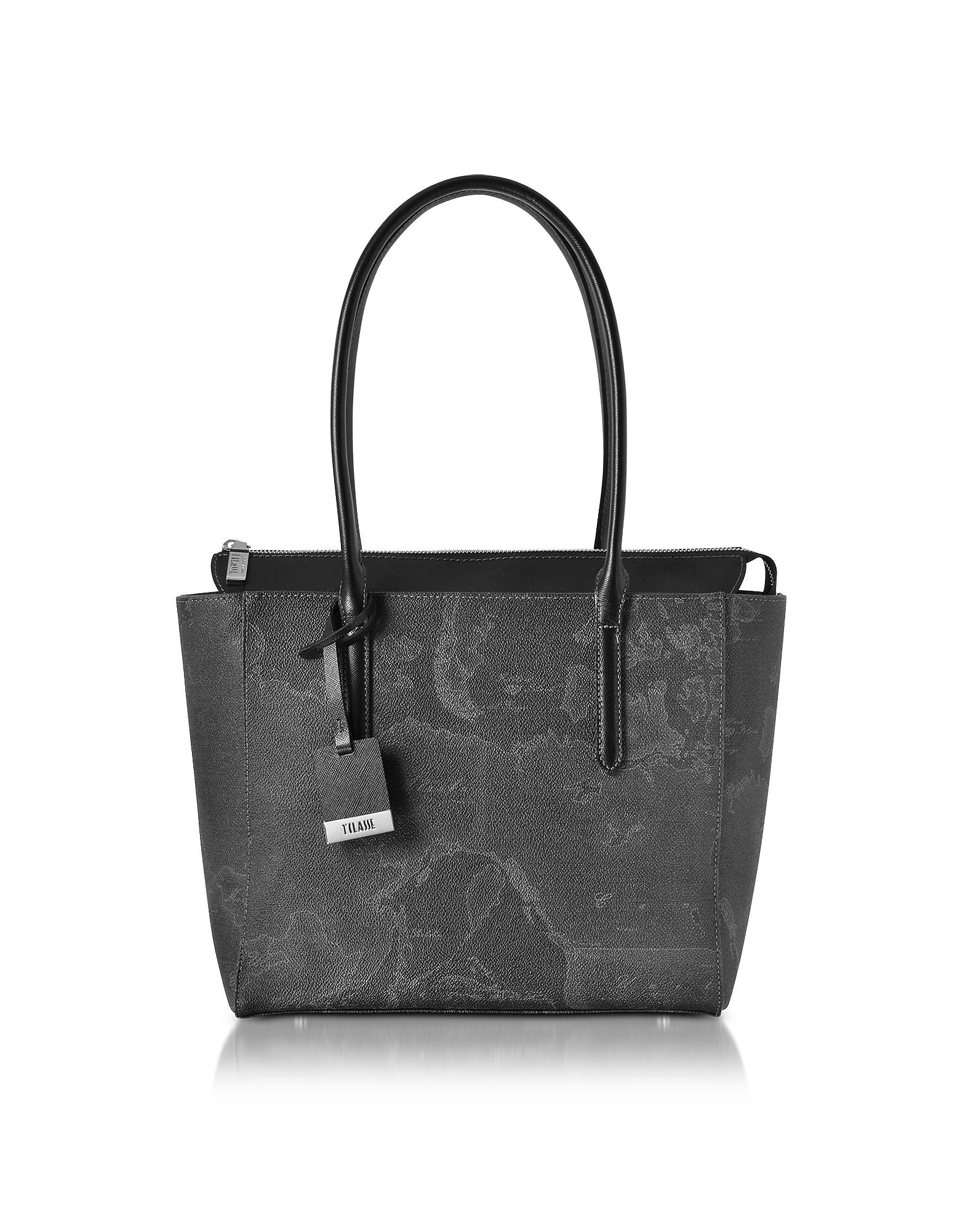 Alviero Martini 1A Classe Handbags, Medium Geo Black Tote