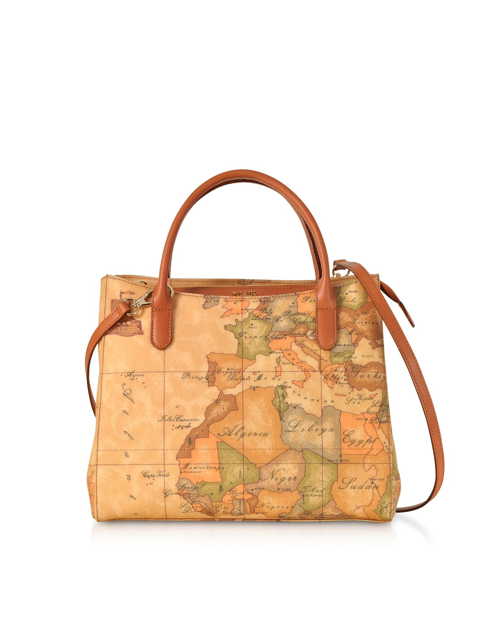 ALVIERO MARTINI 1A CLASSE Geo Classic Coated Canvas Small Tote Bag