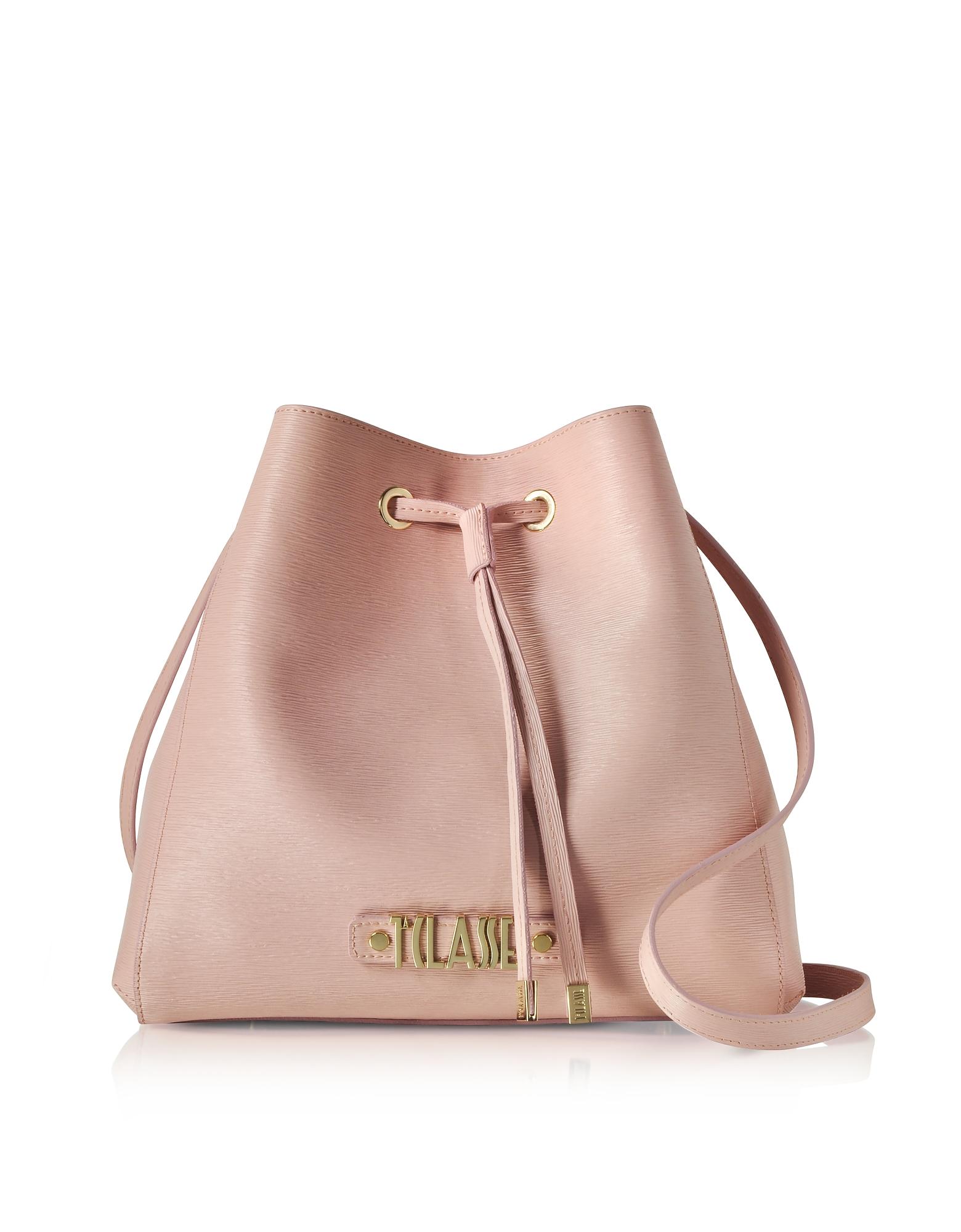 ALVIERO MARTINI 1A CLASSE Alegria Smile Saffiano Leather Bucket Bag in Pink