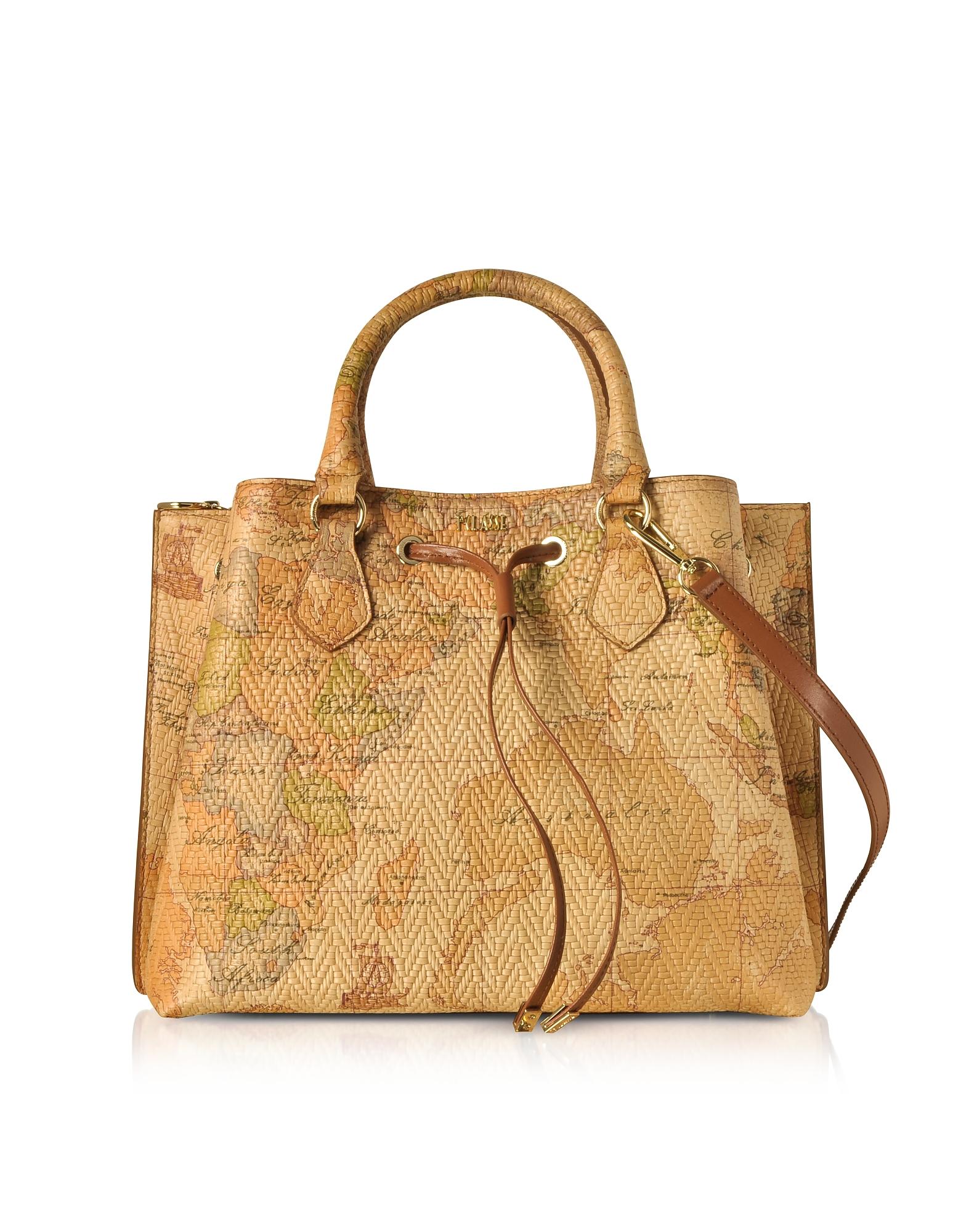 ALVIERO MARTINI 1A CLASSE Geo Print Woven Leather Frida Bag in Gold