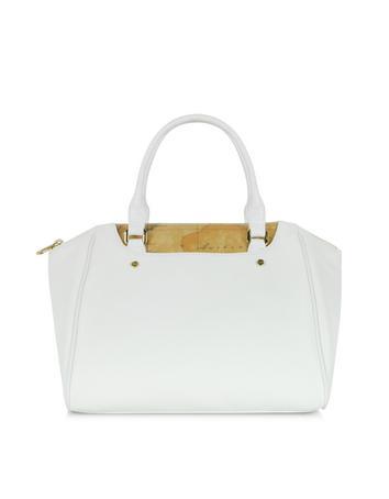 Metropolitan White Leather and Geo Print Fabric Satchel Bag
