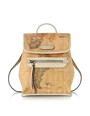 Alviero Martini 1A Classe - Australia Geo Printed Backpack w/Cream Ostrich Print Leather Details