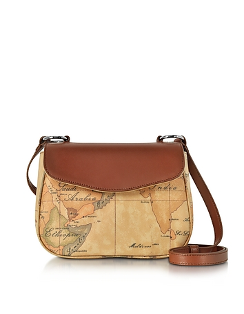 Alviero Martini 1A Classe - Small Geo Print Coated Canvas and Leather Crossbody Bag