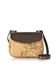 Small Geo Print Coated Canvas and Leather Crossbody Bag - Alviero Martini 1A Classe