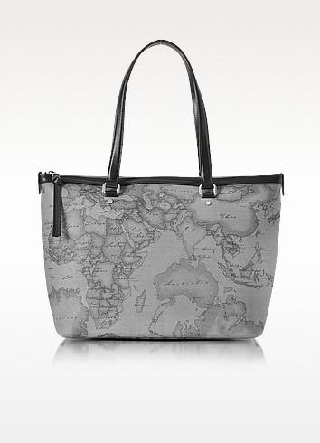 Geo Dark Canvas and Leather Medium Tote Bag - Alviero Martini 1A Classe