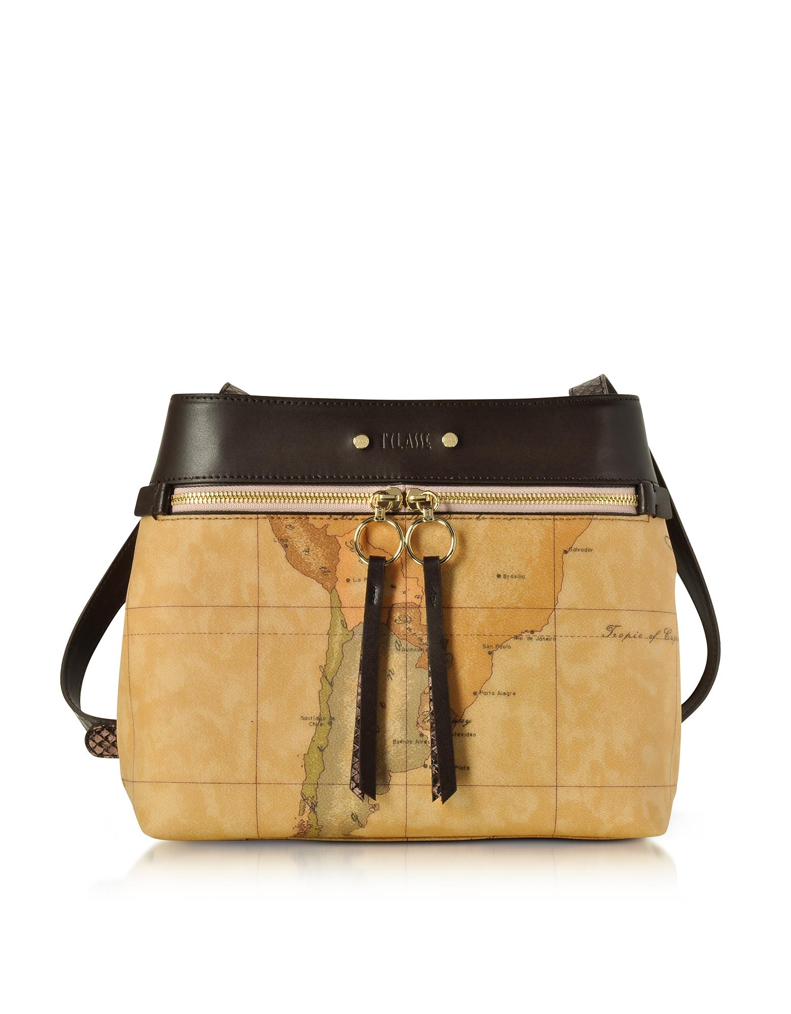 Alviero Martini 1A Classe Handbags, Vanity Dark Brown Leather Shoulder Bag