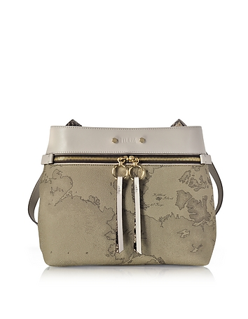 Alviero Martini 1A Classe Designer Handbags, Vanity Grey Leather Shoulder Bag av130417-022-00