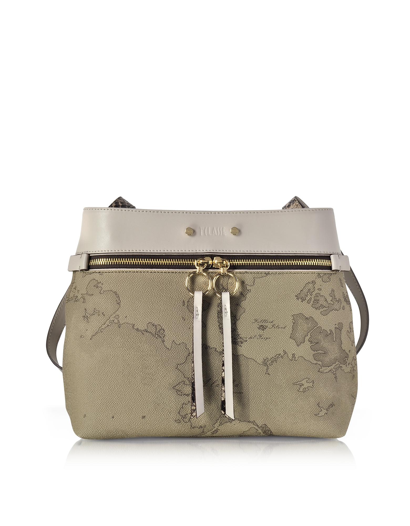 Alviero Martini 1A Classe Designer Handbags, Vanity Grey Leather Shoulder Bag av130417-022-00