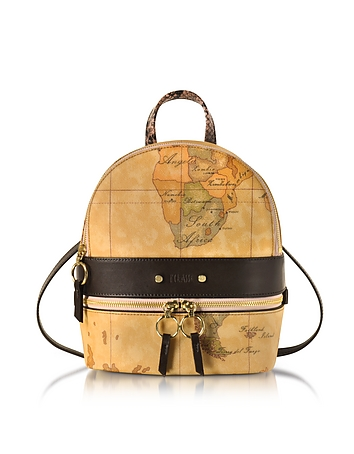 Alviero Martini 1A Classe Designer Handbags, Vanity Dark Brown Leather Backpack av130417-023-00