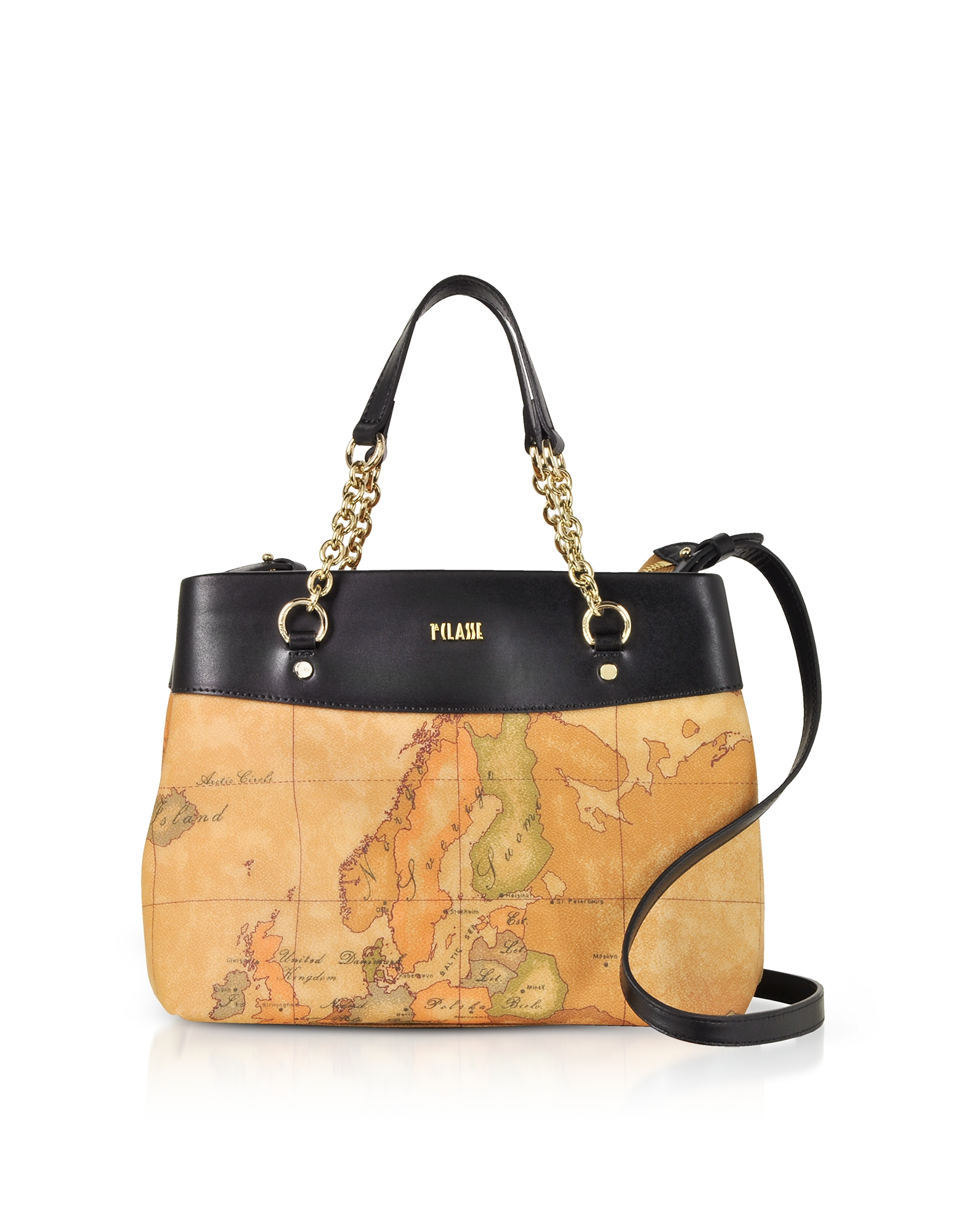 Alviero Martini 1A Classe Handbags, The Goldie Geo Printed Coated Canvas Shoulder Bag