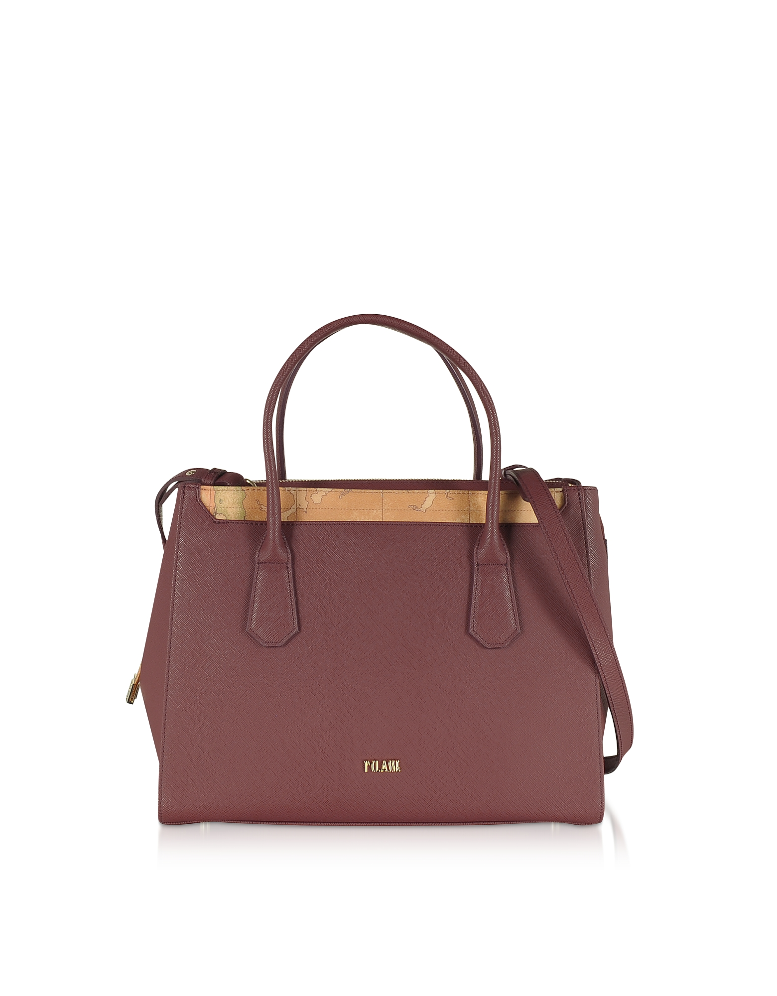 Burgundy Saffiano Leather Tote Bag w/ Geo Print Details