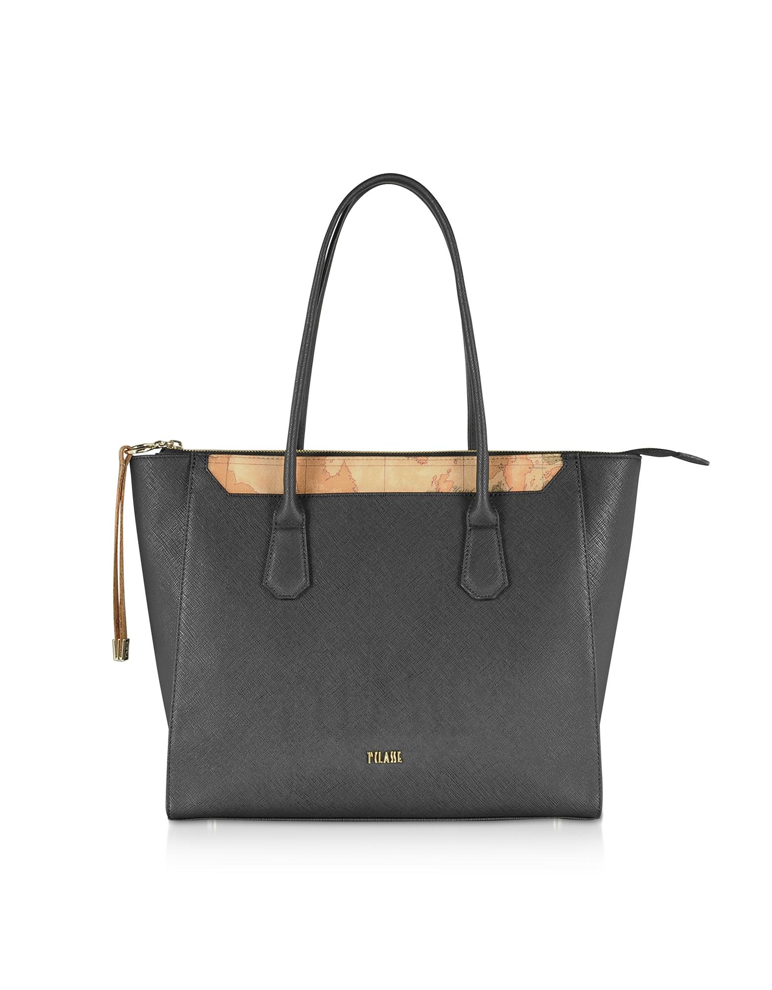 Alviero Martini 1A Classe Designer Handbags, Black Tote Bag w/ Geo Print Details