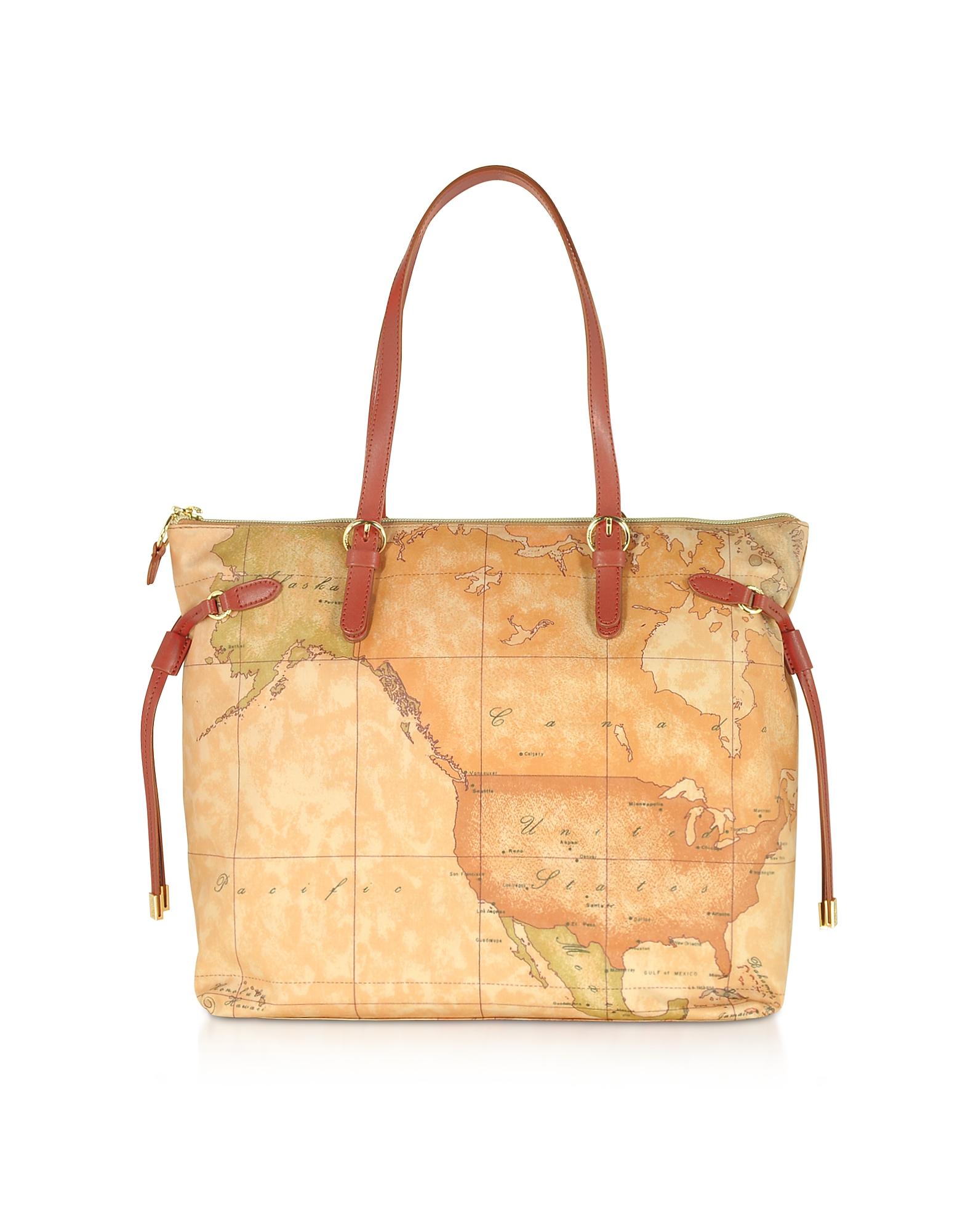 Alviero Martini 1A Classe Designer Handbags, Soft Geo Classic and Leather Tote Bag