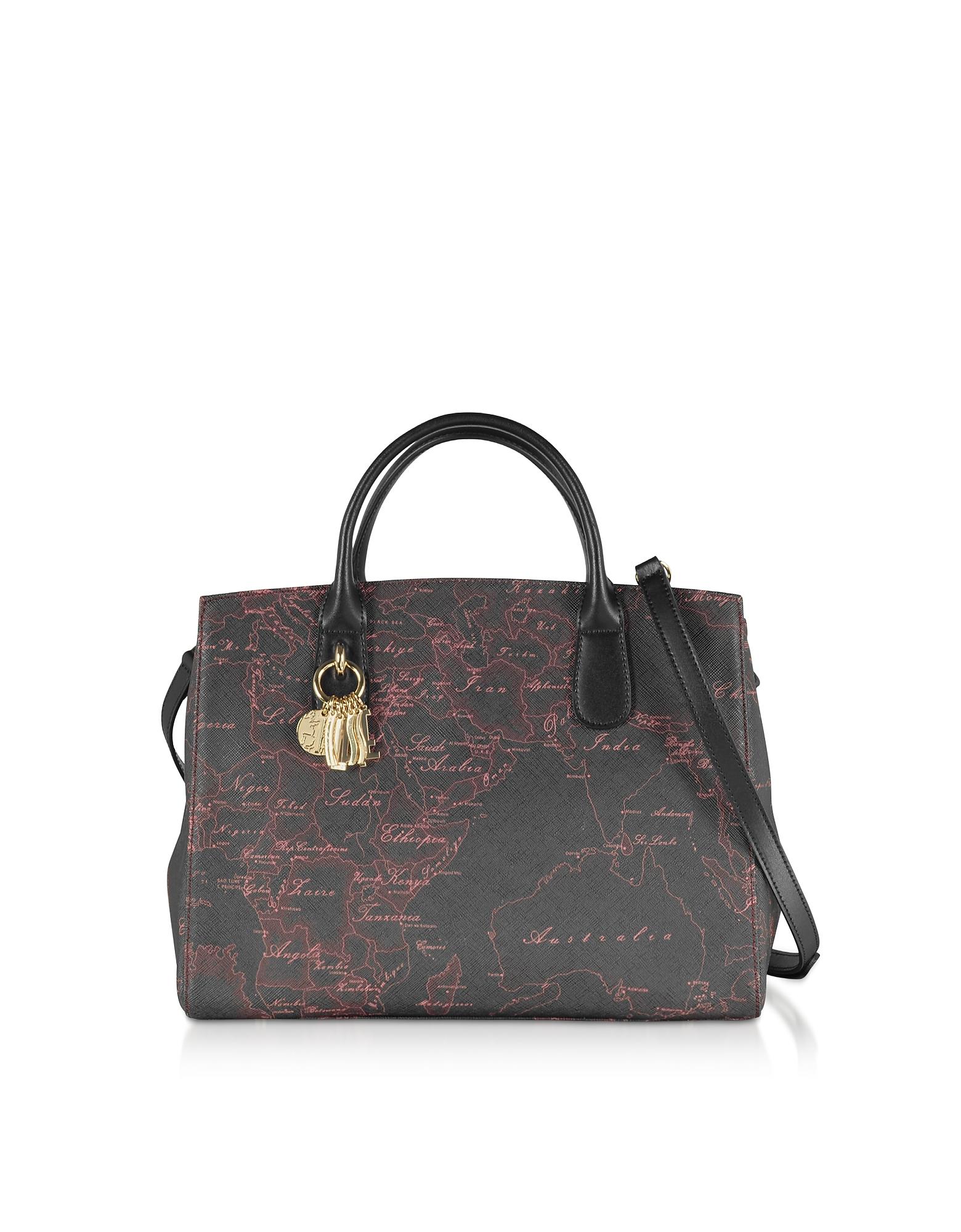 Black & Red Geo Canvas Satchel Bag