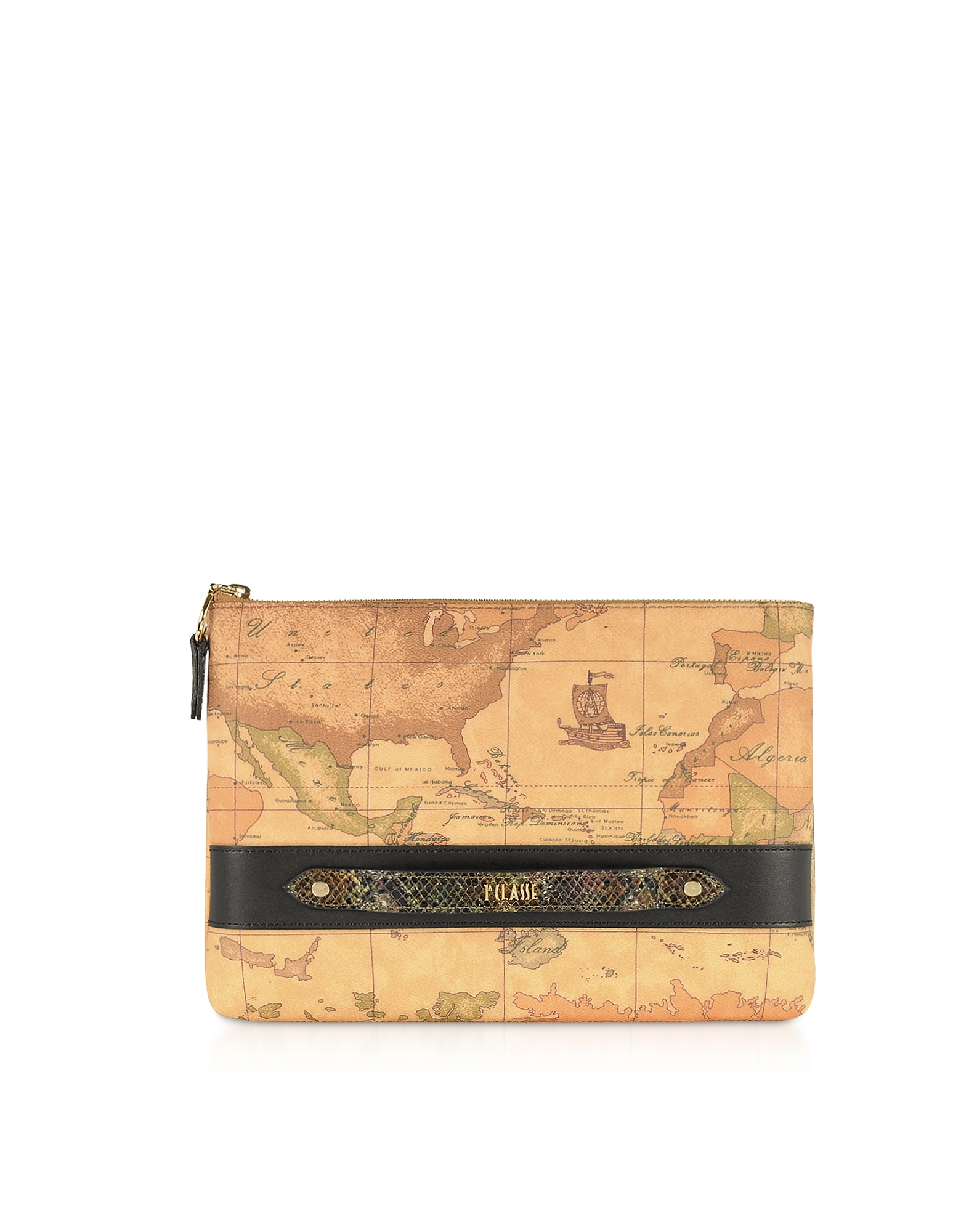 Geo Print Coated Canvas Pouch